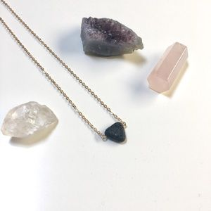 Ecclectically Curated Jewelry - Minimalist Triangle Lava Bead Diffuser Necklace